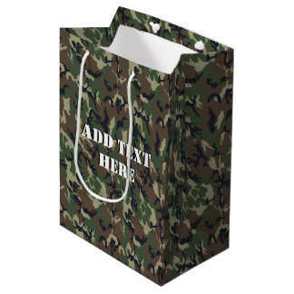 Woodland Camouflage Military Background Medium Gift Bag