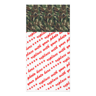 Woodland Camouflage Military Background Photo Card Template