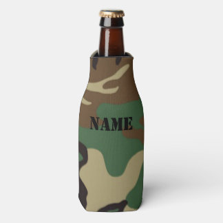 Woodland Camouflage ~ Personalized Name / Initials Bottle Cooler