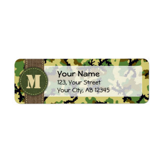 Woodland camouflage return address label