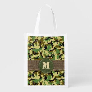 Woodland camouflage reusable grocery bag