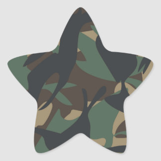 Woodland Camouflage Star Sticker