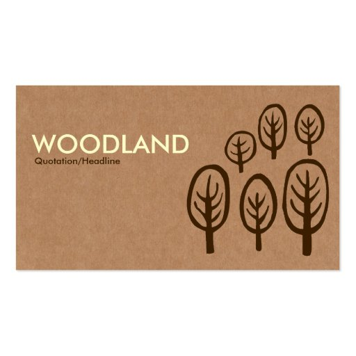 Woodland - Cream + Dark Brown on Cardboard Box Tex Business Card Template