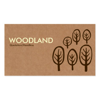 Woodland - Cream + Dark Brown on Cardboard Box Tex Pack Of Standard Business Cards