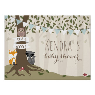 Woodland Creatures Boy Baby Shower Poster