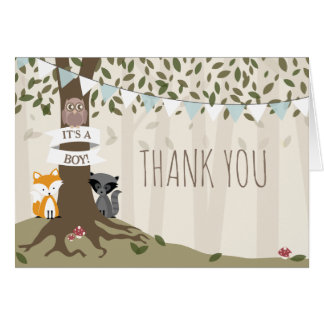 Woodland Creatures Boy Baby Shower Thank You Card