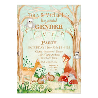 Woodland Creatures Gender Reveal Deer Fox Owl Personalized Announcements