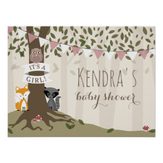 Woodland Creatures Girl Baby Shower Poster