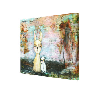 Woodland Creatures Rabbit Owl Whimsical Animal Art Canvas Print