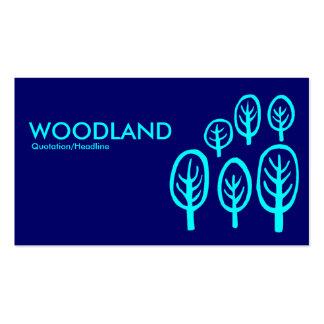 Woodland - Cyan Blue on Dark Blue Business Card Template
