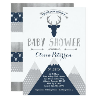 Woodland Deer Baby Shower Invitation, Faux Foil Card