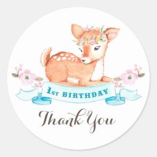 Woodland Deer first birthday thank you sticker