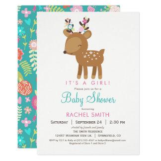 Woodland Deer Girl Baby Shower Invitation