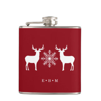 Woodland Deer Monogrammed Christmas Hip Flask