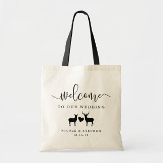 Woodland Deer Wedding Welcome Tote Bag