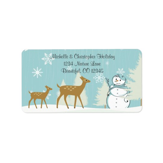 Woodland Deer with Snowman Winter Address Label