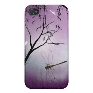 Woodland dragonflies purple evening iPhone case Cover For iPhone 4