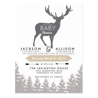 Woodland Escape Baby Shower Invite Postcard