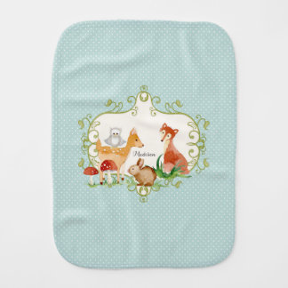 Woodland Fairy Tale Forest Animals Nursery Throw Burp Cloth