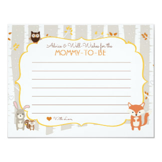 Woodland Fall / Winter Baby Shower Advice Card 11 Cm X 14 Cm Invitation Card