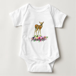 Woodland Fawn Deer Watercolor Floral Baby Monogram Baby Bodysuit