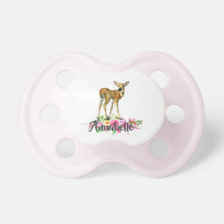 Woodland Fawn Deer Watercolor Floral Baby Monogram Dummy