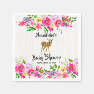 Woodland Fawn Deer Watercolor Floral Baby Shower Disposable Napkin
