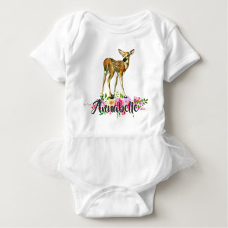 Woodland Fawn Deer Watercolor Floral Monogram Tutu Baby Bodysuit