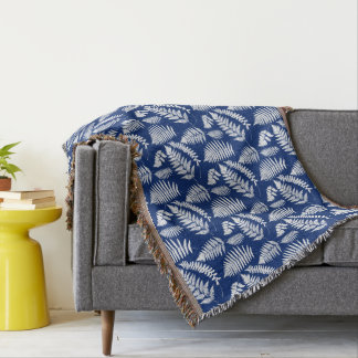 Woodland Fern Pattern, Cobalt Blue and White Throw Blanket