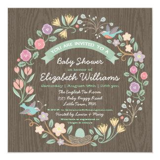 Woodland Floral Wreath Baby Shower Invitation II