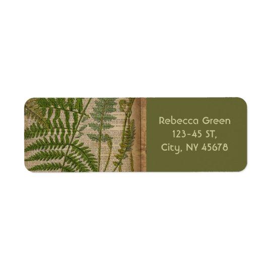 woodland foliage french botanical print fern return address label