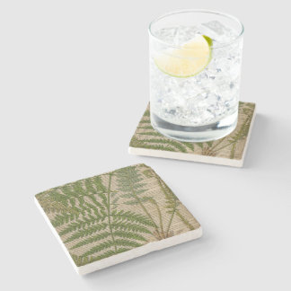 woodland foliage french botanical print fern stone coaster