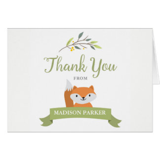 Woodland Forest Baby Shower Thank You Note Cards