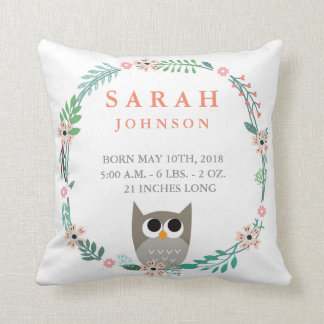 Woodland Forest Birth Stats Owl Nursery Pillow