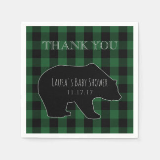 Woodland Forest Boy Baby Shower | Lumberjack Plaid Disposable Serviette