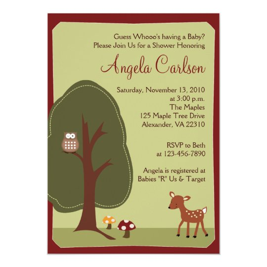 Woodland Forest Deer Owl Baby Shower Invitation