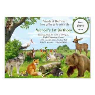 Woodland Forest Friends Birthday Invitation