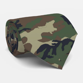Woodland Forest Green Camouflage Pattern Tie