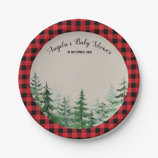 Woodland Forest Lumberjack Party Paper Plates