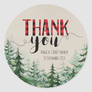 Woodland Forest Lumberjack Thank You Sticker