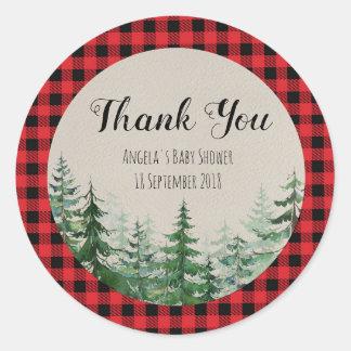 Woodland Forest Lumberjack Thank You Sticker