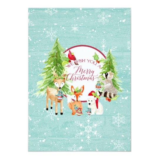 Woodland Forest Merry Christmas Modern Photograph Card