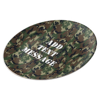 Woodland Forest Military Camouflage Porcelain Plate