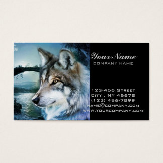 woodland forest moonlight full moon wolf business card