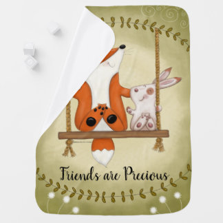 Woodland Fox and Bunny Swing Baby Blanket