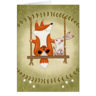 Woodland Fox and Bunny Swing Card