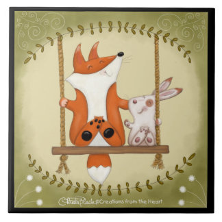 Woodland Fox and Bunny Swing Ceramic Tile