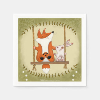 Woodland Fox and Bunny Swing Paper Serviettes