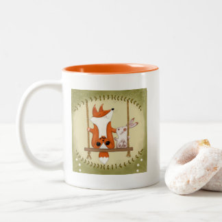 Woodland Fox and Bunny Swing Two-Tone Coffee Mug