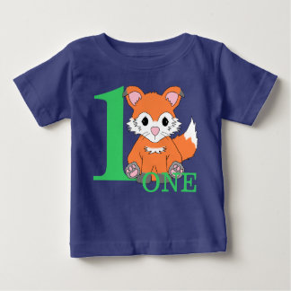 Woodland Fox Baby Boy First Birthday One Year Baby T-Shirt